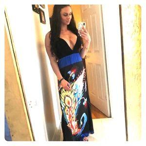 Peacock Maxi Dress (S)